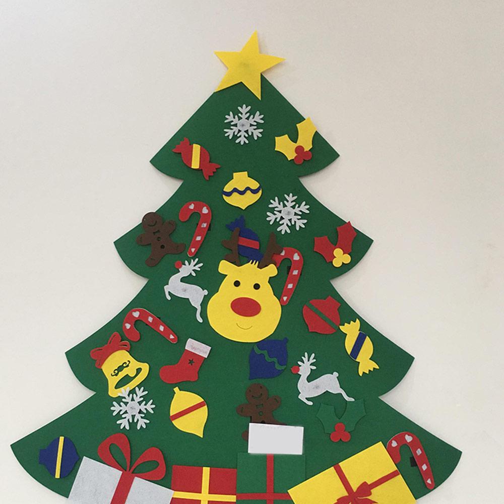 Felt Christmas Tree Decorations For Home Kids DIY Christmas Tree Ornaments New Year Xmas Wall Hanging Decor