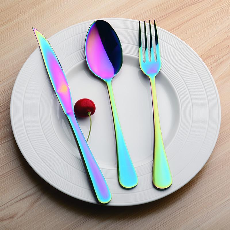 Edelstahl langer Griff Bunte Fruchtgabel Steakgabel Geschirr Küche Werkzeuge Neu
