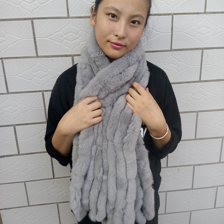 knitted rex rabbit fur scarf for women winter (26)