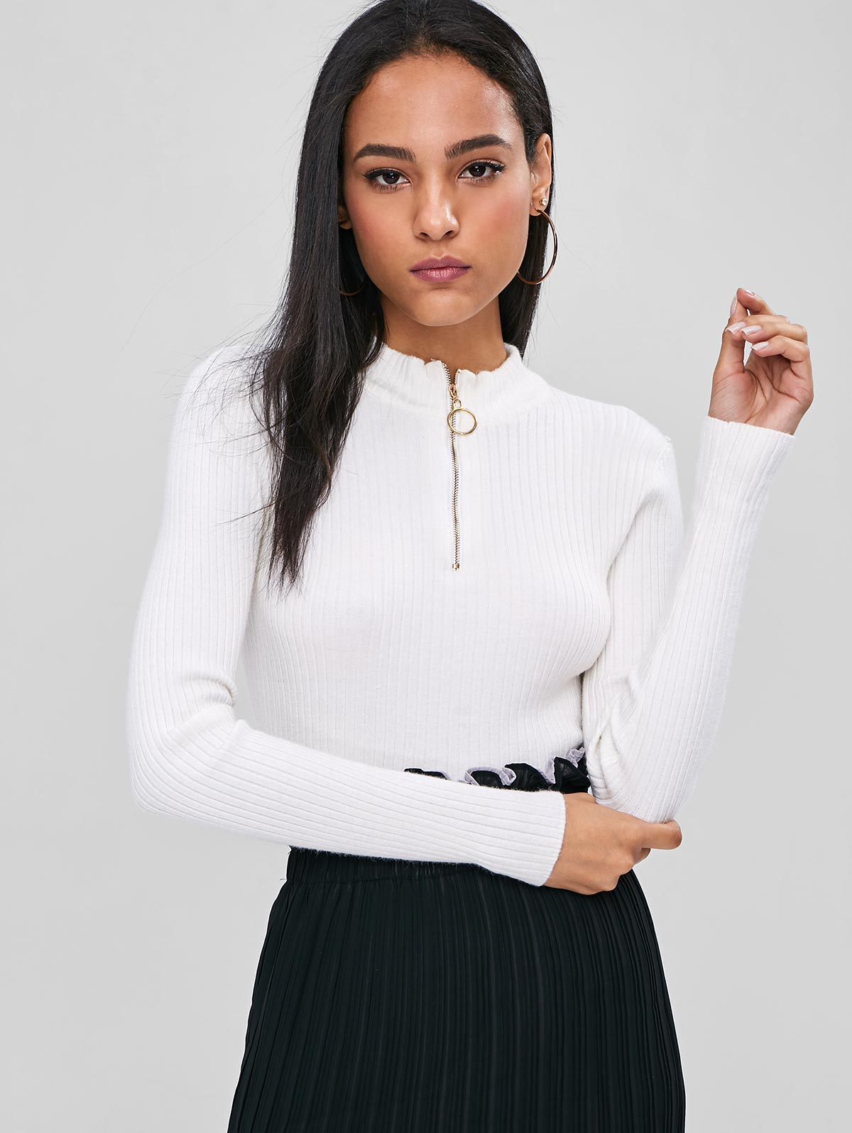 vente en gros pull en tricot côtelé à col droit