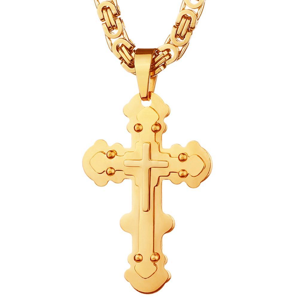 Hohe Qualität Edelstahl Halsketten Anhänger Gold Schwarz Ton Fleur-de-lis Kreuz Anhänger Halskette Lange Byzantinische Kette Männer Schmuck