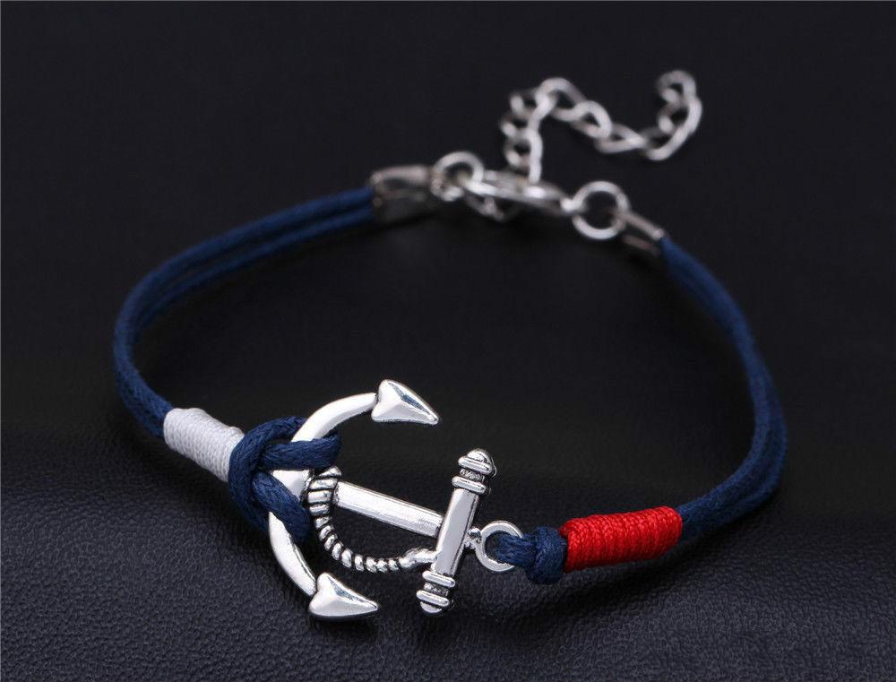 new Hot sell Fashion infinity bracelets pirate nautical bracelet anchor woven nautical gifts bracelet KKA2172
