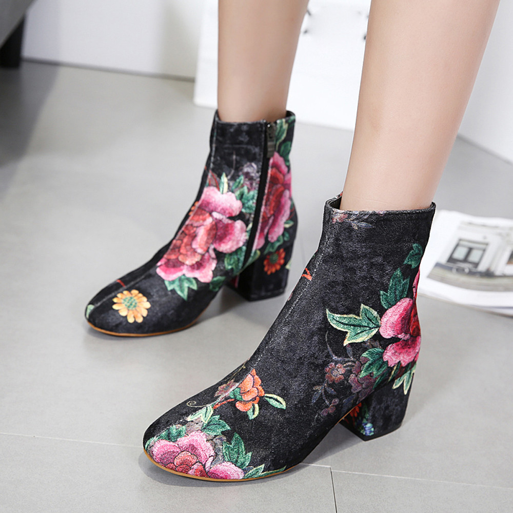 Women's Fashion Round Toe Non-Slip Shoes Floral Printing Thick Heel Martin Boots Motorcycle Cow Muscle Cowboy Women Ankle Boots