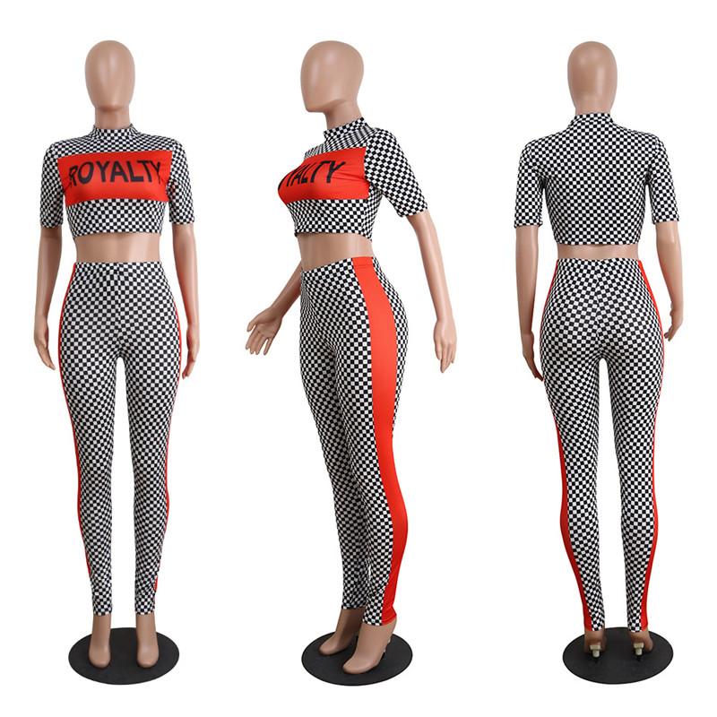 2018 new fashion plaid pants suit tracksuit set-6