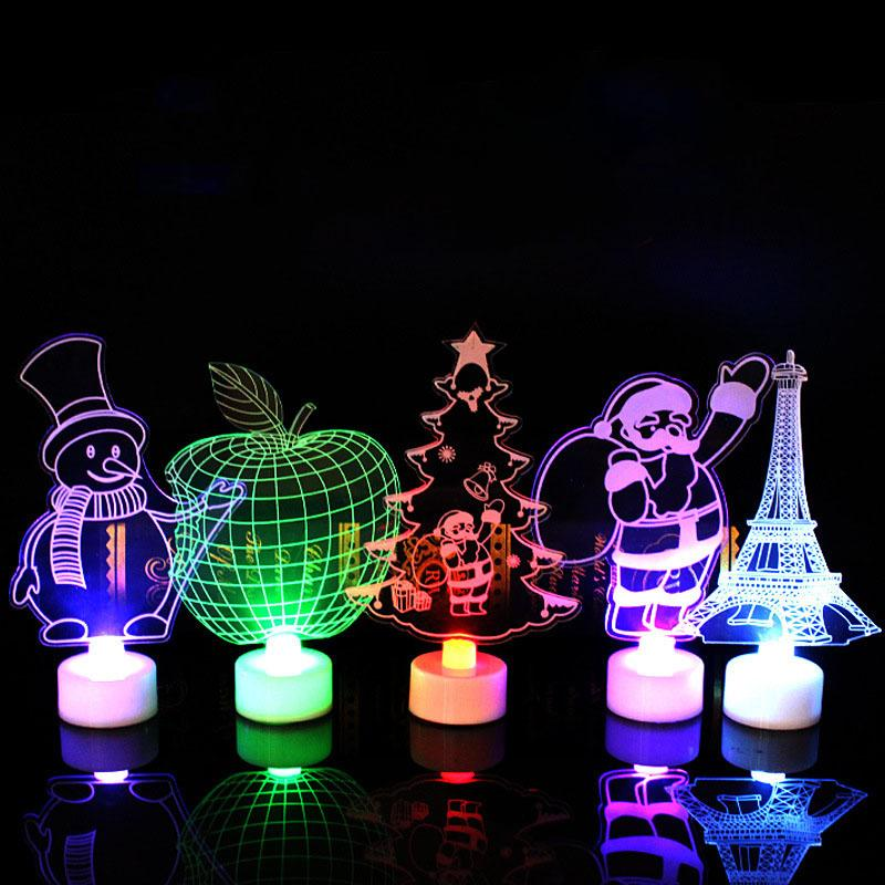 Xmas LED Night light 3D Flashing Colorful table lamp Christmas tree Santa Claus snowman tower Party Decoration GGA1132