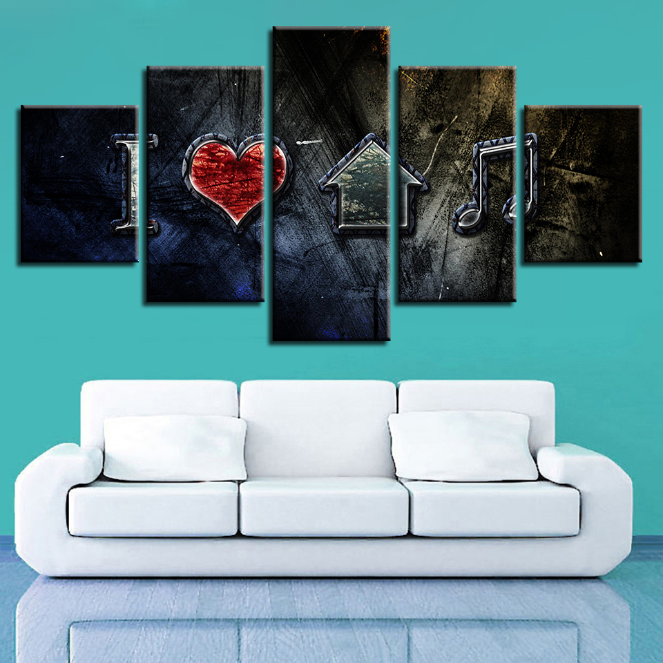 Canvas Wall Art Pictures Framework Home Decor HD Printed I Love House Music Posters Modular Living Room Retro Paintings