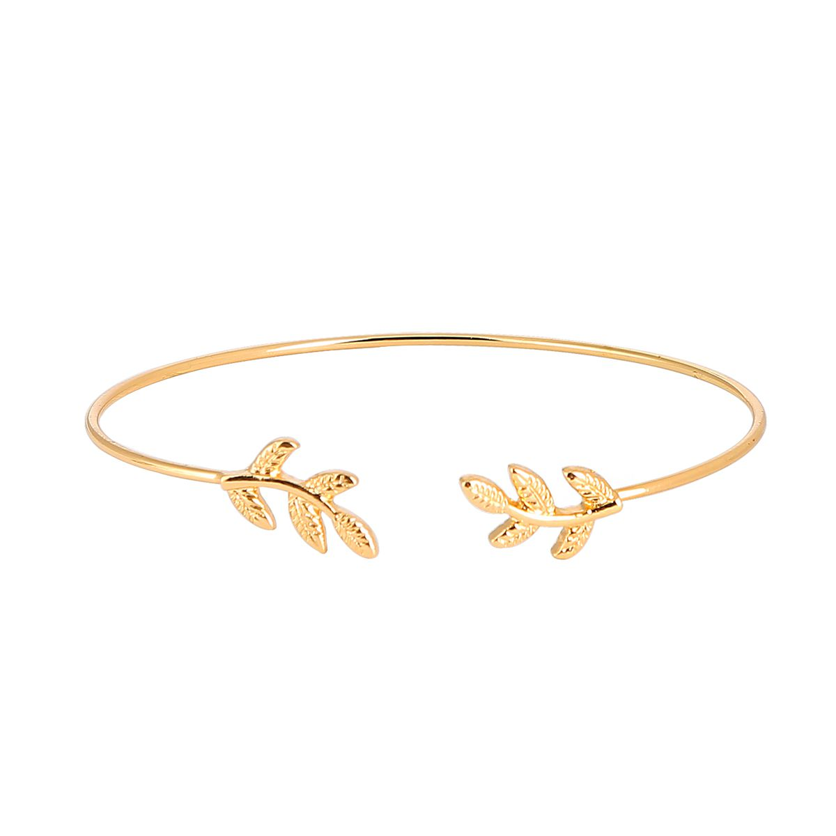 Leaf Copper Bead Opening Bracelet Alloy Plating Wild Fashion Jewelry Bracelet