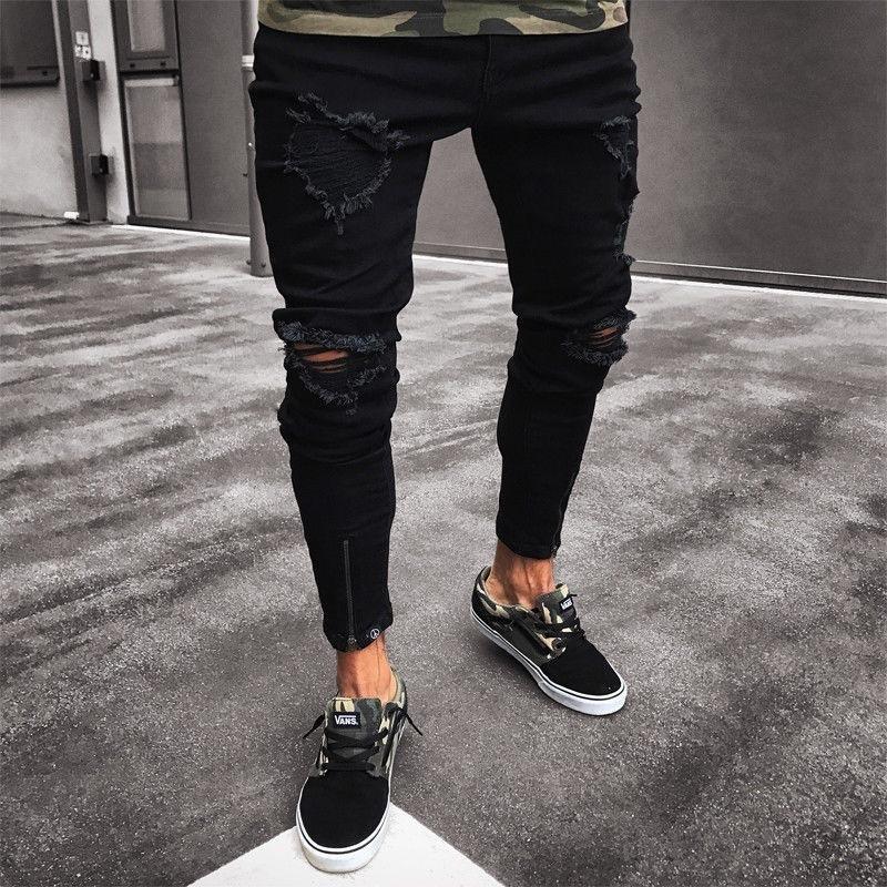 2018 factory price black Distrressed men's biker jeans slim fit korea style Pencil denim Pants wholesale support drops shipping /6