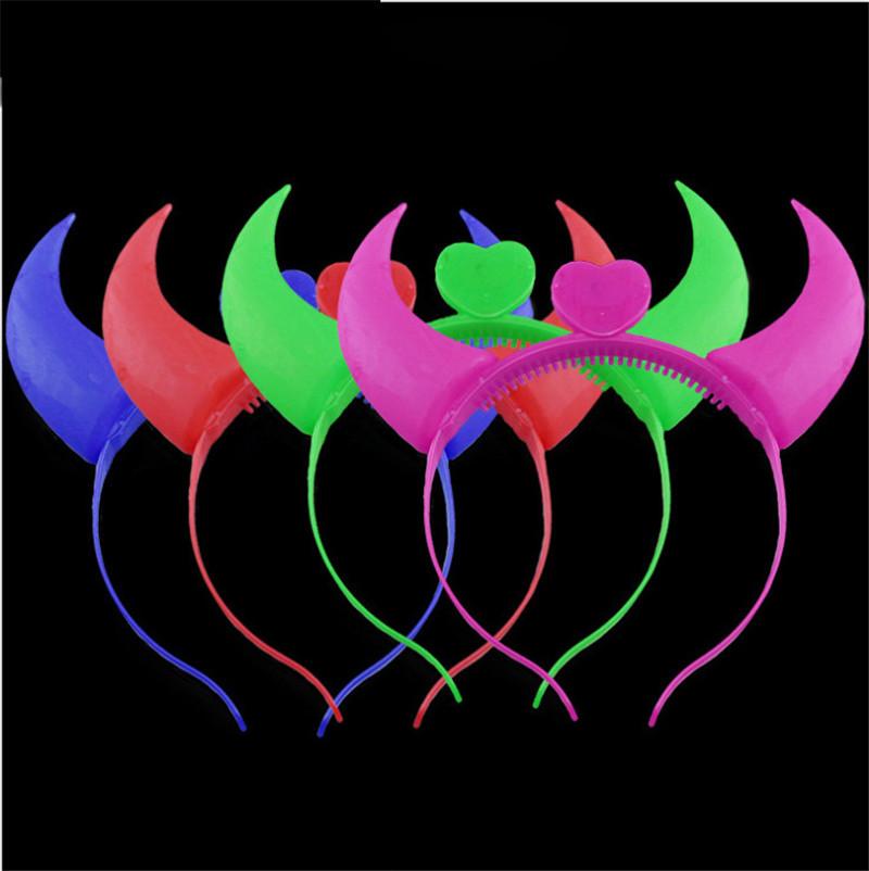 LED cuerno de buey diadema ilumina intermitente cuerno del diablo pelo corchete Headwear fiesta de navidad halloween decoración de horquilla emisor de luz