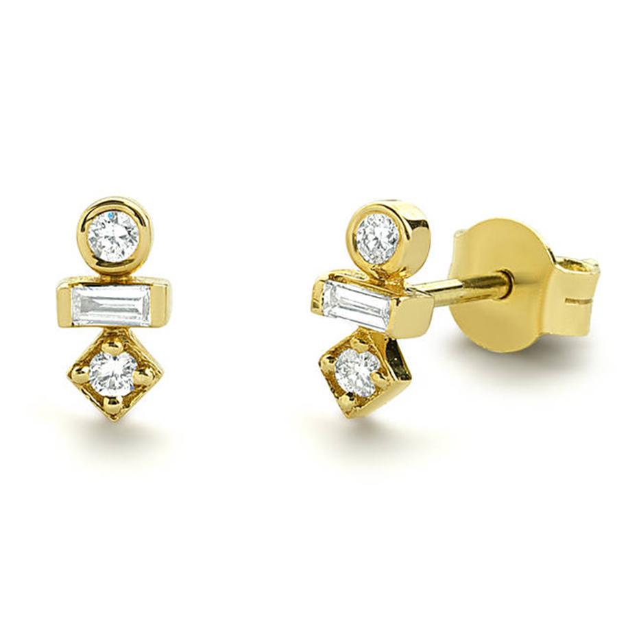 14K Solide Or Jaune Fleur Forme Goujon Boucles D/'Oreilles Avec Lab Diamant /& Améthyste//8 mm