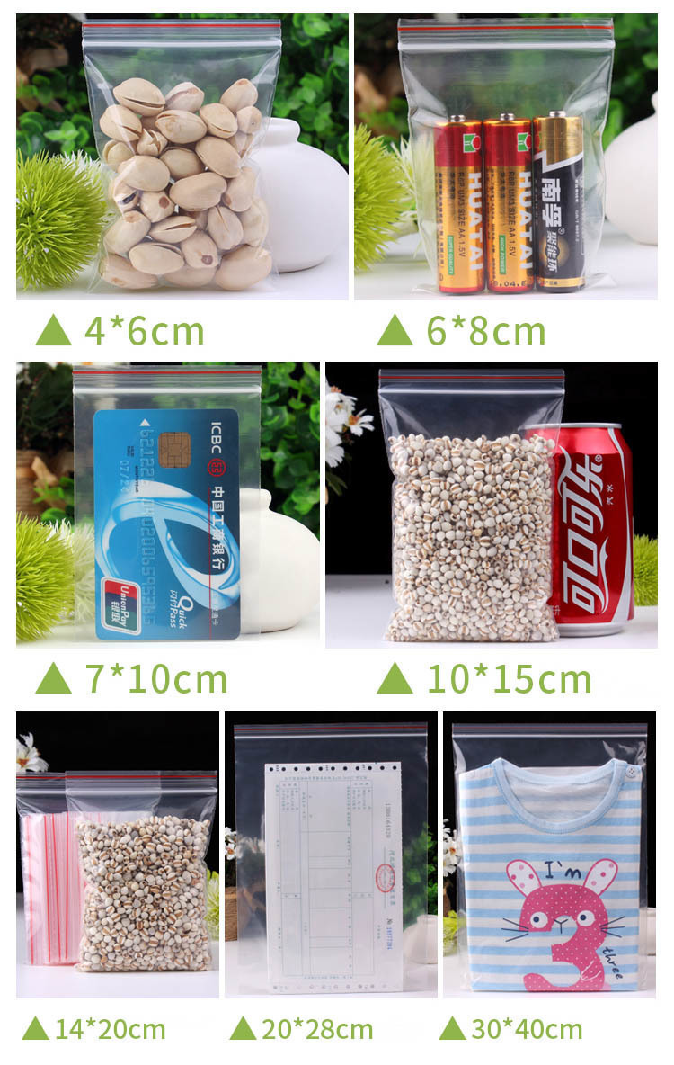 12x17cm Zip Lock Plastic Bags Jewelry Small Ziplock Bag Food Packaging Zipper Clear Waterproof Pouch Garment Packing Storage Bag