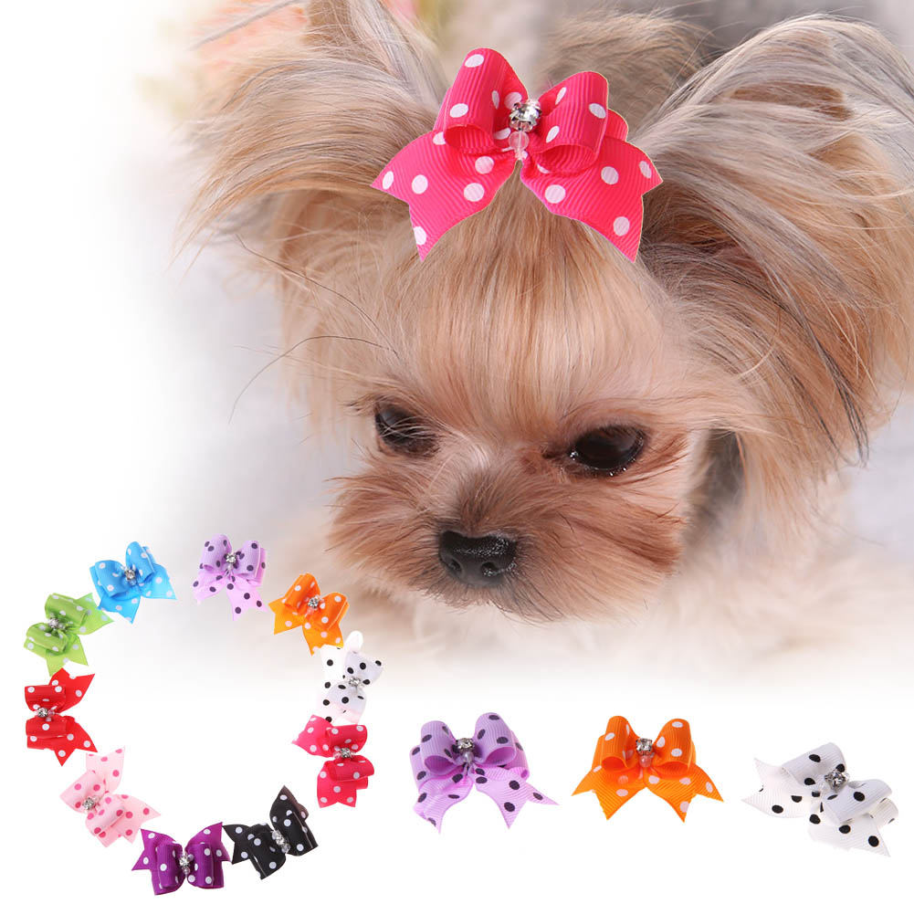 Wholesale Hot Pet Cute rubber bands Hair Clips Dogs Bow Grooming puppy hairpins