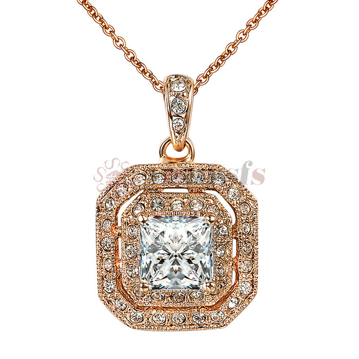 Brass CZ Ocean Love Heart 18K White Gold Plated Red Ruby Pendant Necklace Chain