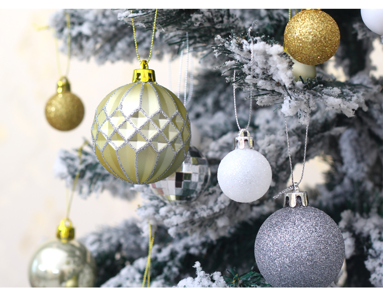 08 inhoo 50pcsset White gold balls Christmas Tree Decoration Ball Ornaments Pendant Accessories Decor For Christmas Home Party