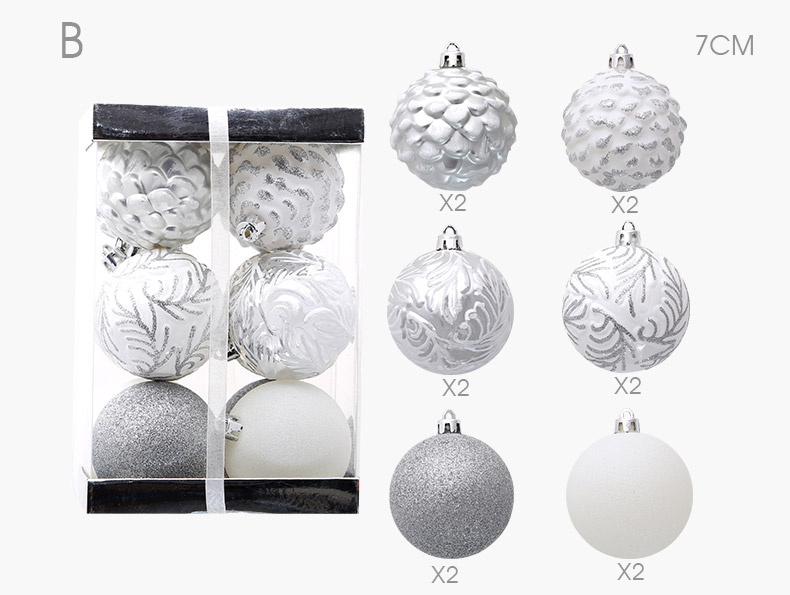 05 inhoo 2018 New Christmas Tree Decoration 7cm Ball Ornaments Pendant Accessories Red white Ball Decor For Christmas Home Party