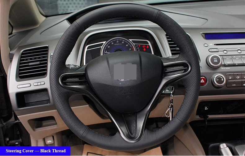 for Honda Civic Old Civic 2004-2011 leather Steering Wheel Cover Black Thread