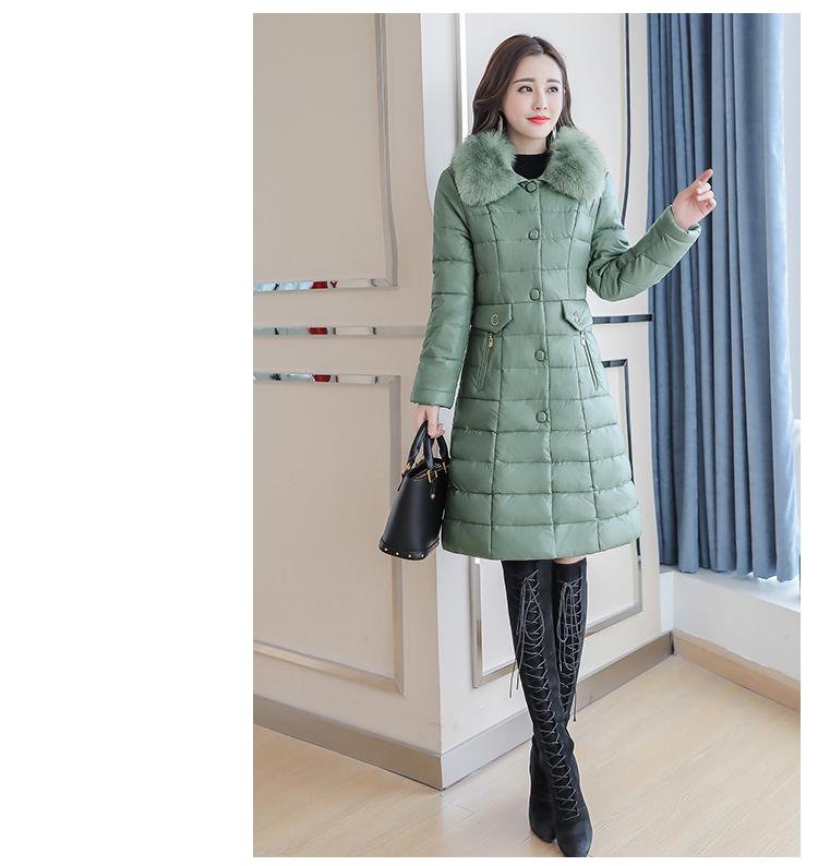 8300 Plus Size Faux Fur Collar Leather Jackets Women Slim Long Warm Down Fur Coat Elegant Top Quality Manteau Femme Hiver 5xl 2018 8