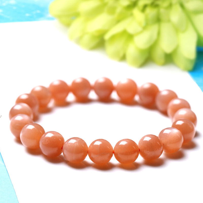 5A Level Natural The Sun Stone Bracelet Orange Moonlight Stone Hand String Woman Style Jewelry Entity Shop Jewellery Ornaments
