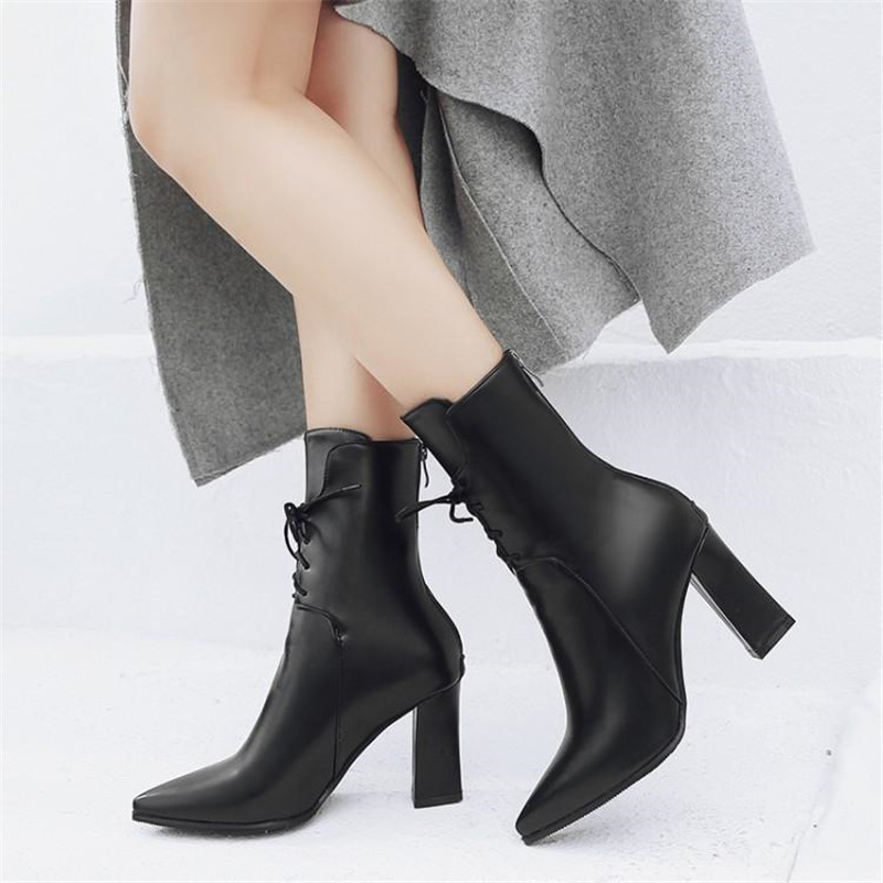 Brand Designers 2018 New Winter Women Shoes Black High Heels Riding Boots Lacing Platform Ankle Boots Chunky Heel Big Size 32-43 (13)