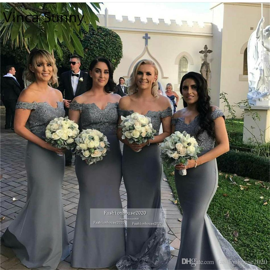 Grey Silver Off The Shoulder Mermaid Bridesmaid Dresses Long Appliques Lace Maid Of Honor Dress Cheap Wedding Party Gowns