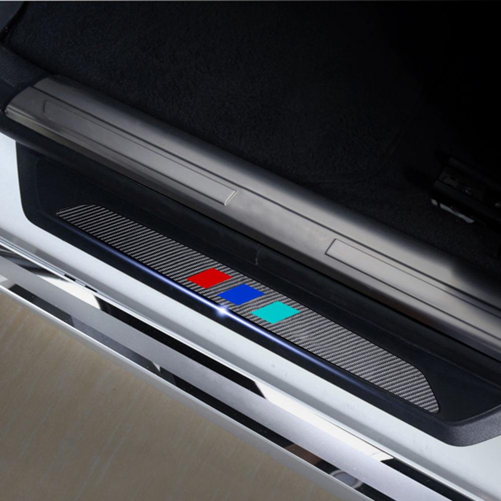 4D Sports Carbon Fiber Car Door Sill Protectors Door Sill Sticker Cover For BMW X6 E71 E72 2012 2013 2014 Car Accessories