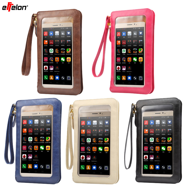 wholesale Full Touch wallet Cell Phone Bag Shoulder Pocket Leather Pouch Case Neck Strap For Samsung/iPhone/Huawei/Sony/Nokia