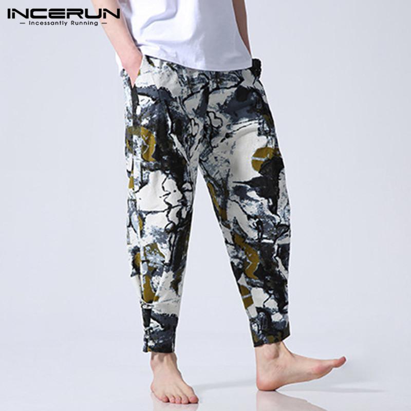 Style ethnique Hommes Harem Pantalon Imprimer Taille Élastique Lâche Coton Pantalon Hommes Hip-Hop Casual Joggers Vintage Pantalon Hombre S-5XL