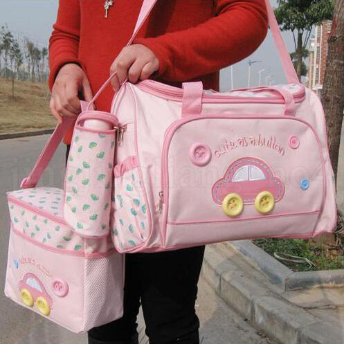 Baby Diaper Nappy Changing Bags Car Button Printed Multifunctional Zipper Washable Cloth Mummy Bags Bottle Storage Bag OOA5769