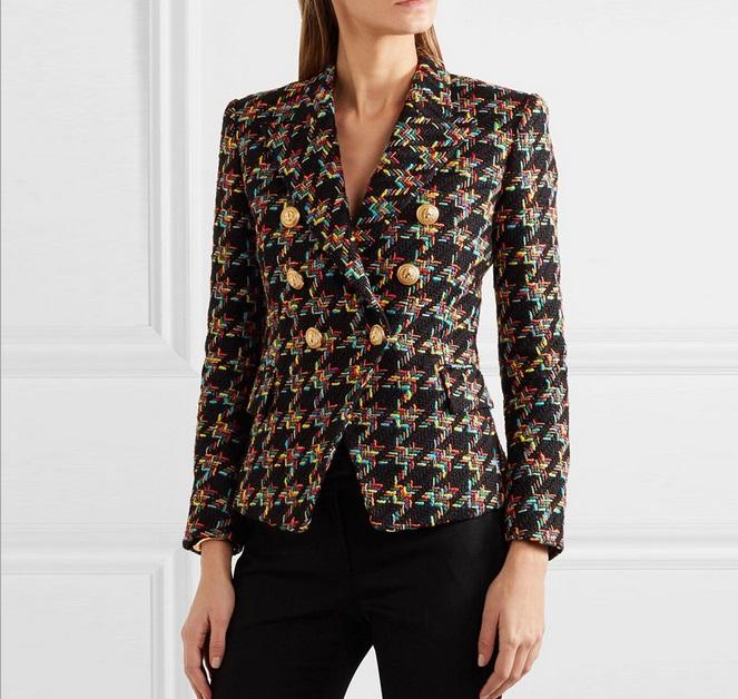 New Style Top Quality Original Design Women's Double-Breasted Blazer Metal Buckle Blazer Check Textured Tweed Slim Jacket Short Coat Outwear