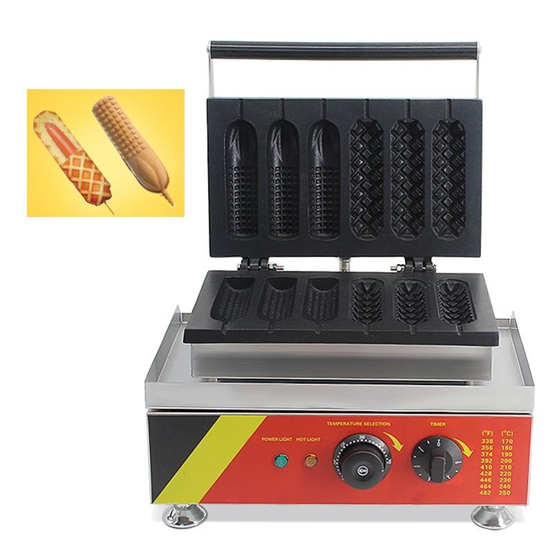 Commercial-Electric 6pc Lolly Gaufre chien sur un bâton Maker Baker Machine
