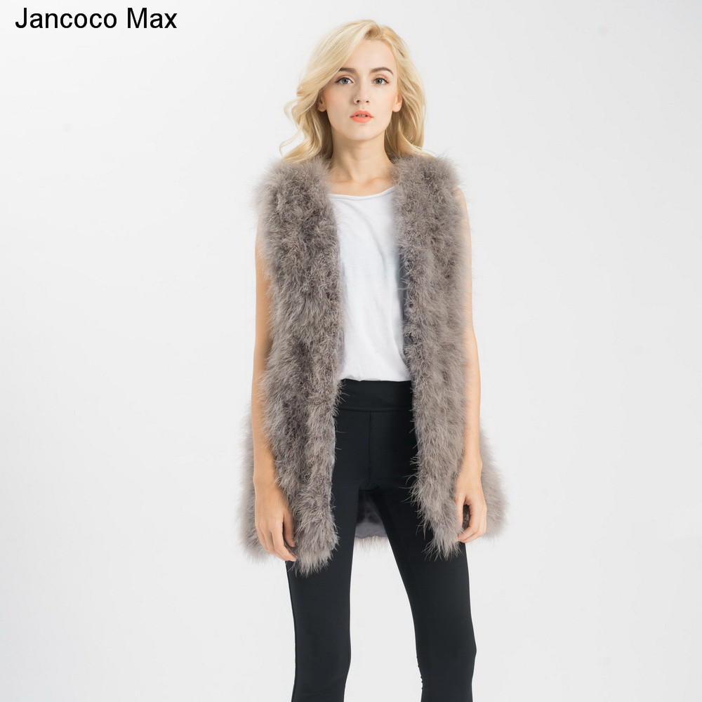 Jancoco-Max-S1007-Real-fur-gilet-Or-Genuine-ostrich-Turkey-Feather-fur-Long-Vest-Women-New (1)