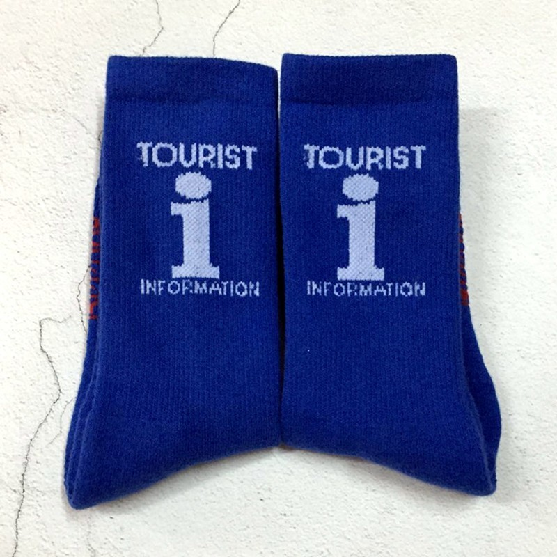 VETE Blue Tourist Logo Socks Football Cotton Thick Towel Bottom Sports Socks Skateboard Hip Hop High Street Socks HFLSWZ014