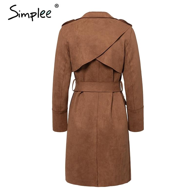 Simplee Turn down collar faja gamuza gabardina Casual bolsillo de cuero largo mujeres otoño abrigo Invierno cálido outcoat mujer C18110601