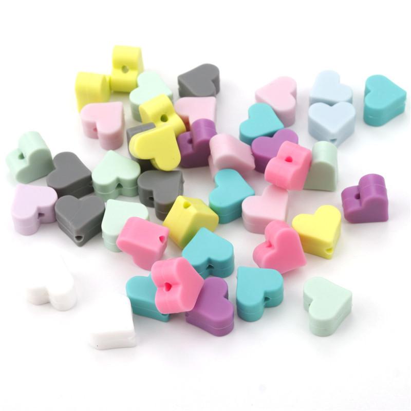 Coração Silicone Dentição Beads Free15 MM Contas de Dentes Bebê Chews Dentição Pingente de Diy Chupeta Cadeia Cuidados Com o Bebê