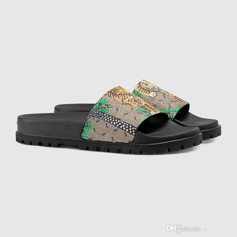 gute Qualität Männer Designer Hausschuhe Echtes Leder Clip Füße Flip Stil europäischen Tiger Linien Stil Schuhe Luxus Marke Sandalen mit Box