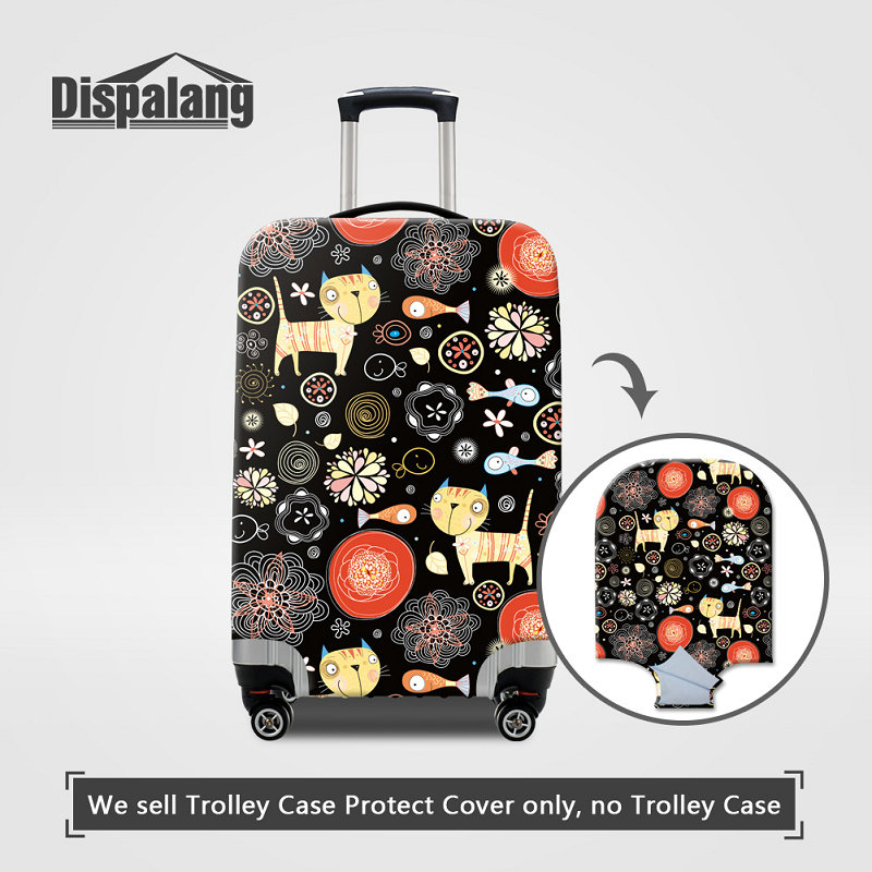 Travel Luggage Cover Cartoon Cat Litter Suitcase Protector Fits 18-20 Inch Washable Baggage Covers