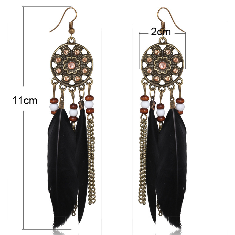 Star With Fund Popular Long Feather Earring Chain Tassels Woman Earrings piercing charm Feather Earring Factory Cost Cheap wholesale