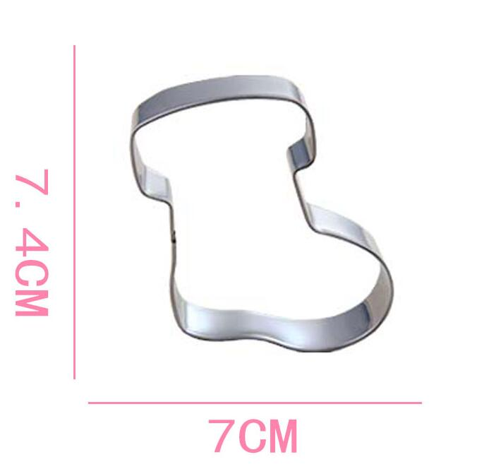 Stainless Steel Christmas Sock Cookie Cutter 3D Christmas Fondant Cake Decorating Tools DIY Biscuit Baking Mold