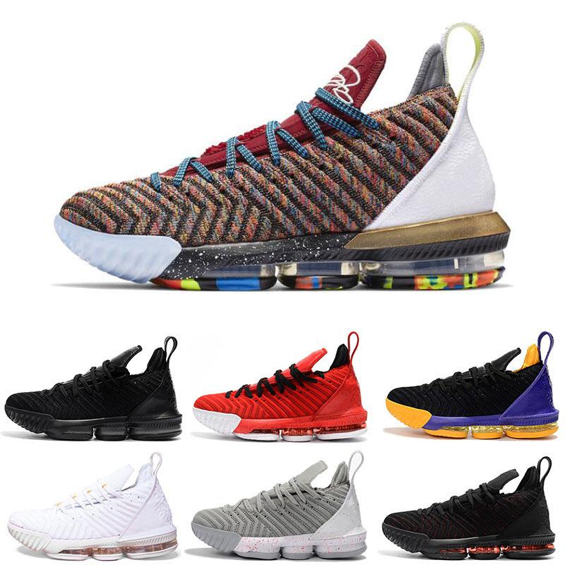Lebron Jams 16 1 Thru 5 Cheap Meilleur discount hommes 16 chaussures de basketball QUOI LE Triple noir FRESH BRED Lakers rouge hommes baskets de sport