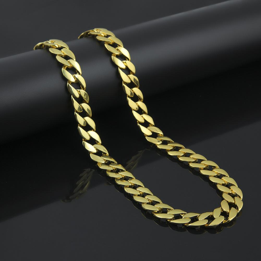 New Arrival Hip Hop Miami Cuban Link Necklace Promotion Hip Hop Gold Silver Plated Iced Out Trendy Jewelry
