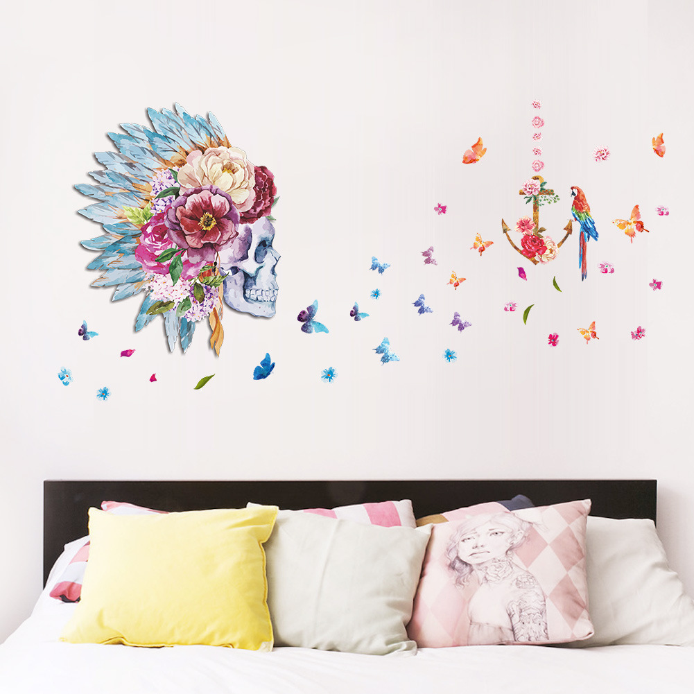 New Pattern Halloween Human Skeleton Head Bedroom Background Decoration Painting Wall Sticker Can Move Except Mural