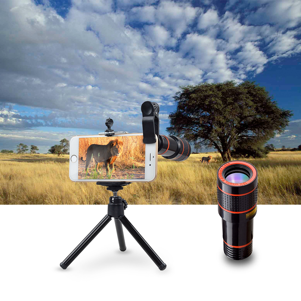 wholesale hd lens 12X Zoom Telephoto Lens kit 4 in 1 SmartPhone Telescope Camera lens For iPhone 6 7 Sumgung xiaomi HTC with tripod