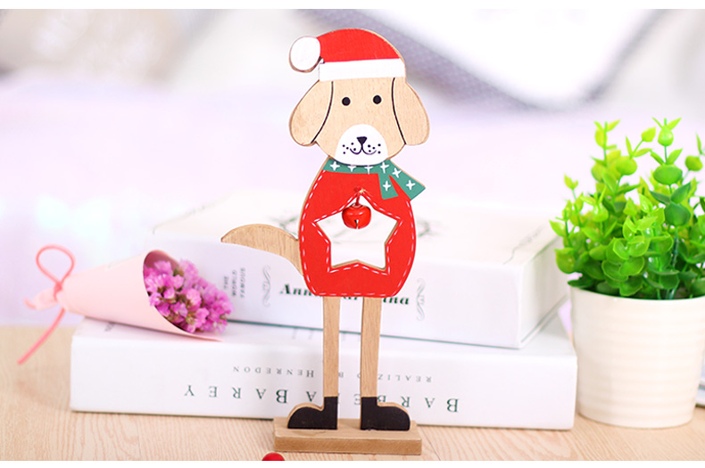 09 2019 Merry Christmas Wooden dog Ornaments Room Wall Hanging Accessories For Home Table Desktop Stand Decor Santa Bells Dog Gifts
