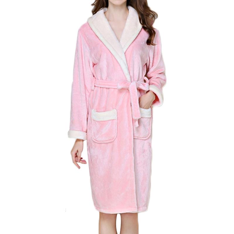 Donne Inverno Caldo Spessa Felpa Abito Lungo Vestaglie Abito Robe Sleepwear