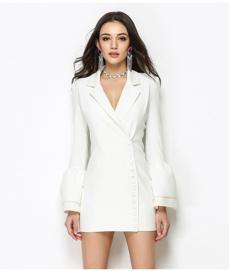 59cf4e99c03 YNZZU 2018 New Spring Women Blazer Dresses Elegant Office Lady Sexy Work  Suit Dress Long Sleeve Slim Female Outwear Dress O494