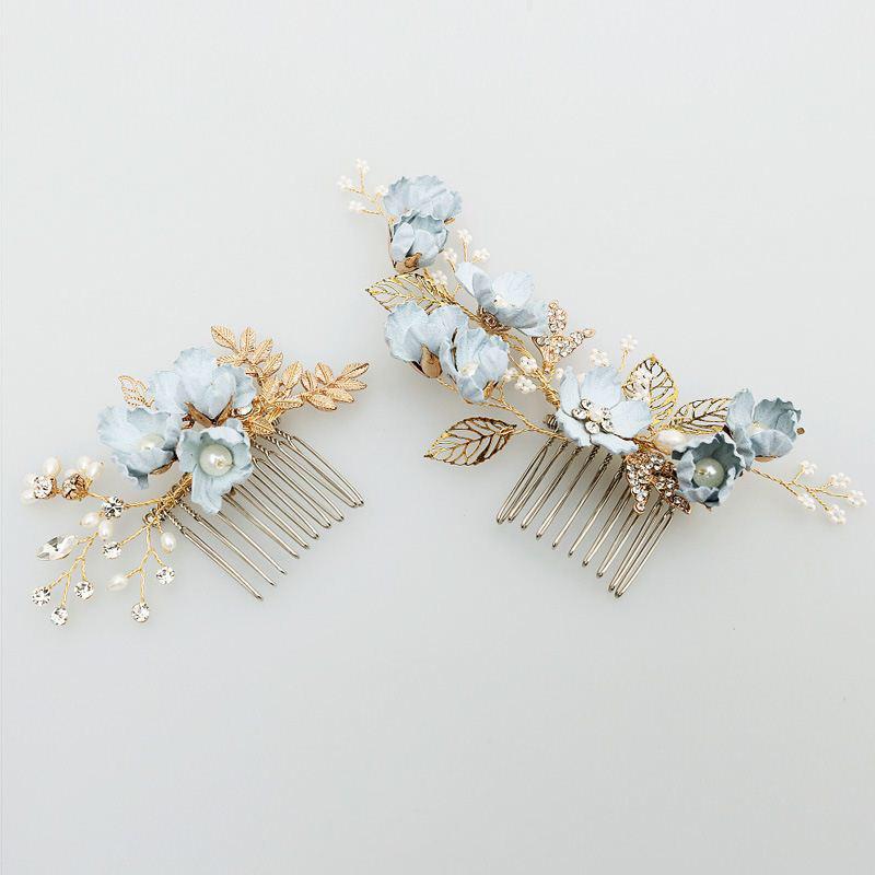 Blue Handmade Flower Wedding Hair Comb Bridal Hair Pin Rrhinestone Pearl Jewelry Hair Accessories for Girls Women Bridesmaid (6)