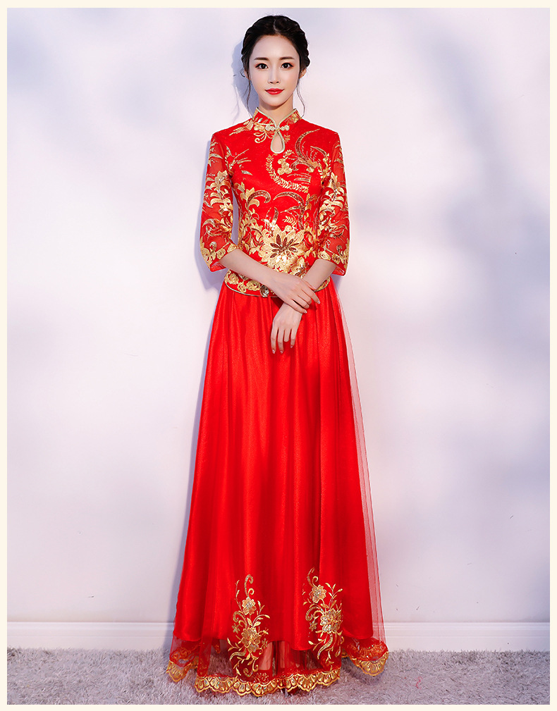 Sgg98 Traditional Chinese Wedding Dress Red Bride Wedding Dresses Cheongsam Long Qipao Robe Chinoise Oriental Dresses Qi Pao Feminine Dresses Formal Prom Dresses From Yivanca 70 56 Dhgate Com