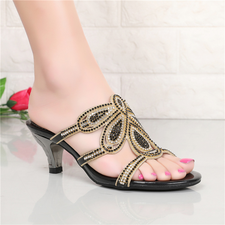 New Luxury Diamond Stiletto High Heels Slippers Online Shopping Peep Toe Womens Shoes Sale High Quality Gold Purple Black Red9
