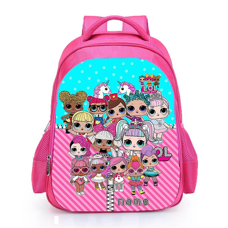 Kids Pink Backpack LOL School Bag for Girls Cute Custom Name Print Schoolbag personalized Book Knapsack mochila Birthday Gift (12)
