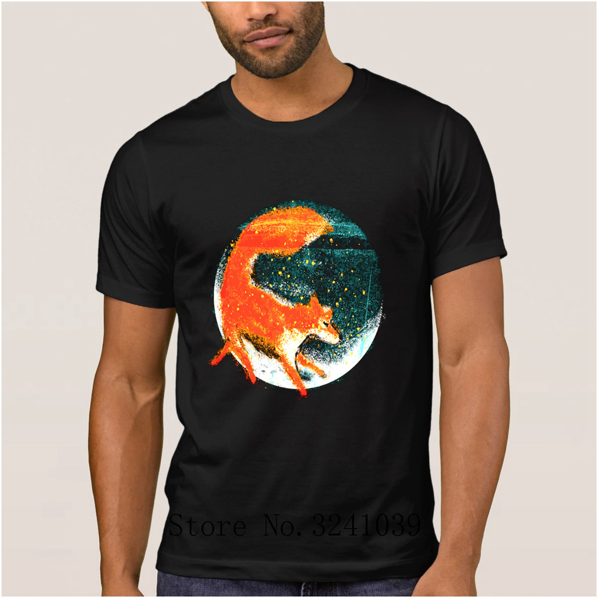 La Maxpa Knitted Authentic Cute fox Fantastic t shirt men Spring Graphic t-shirt Novelty tshirt mens round Neck Top Quality